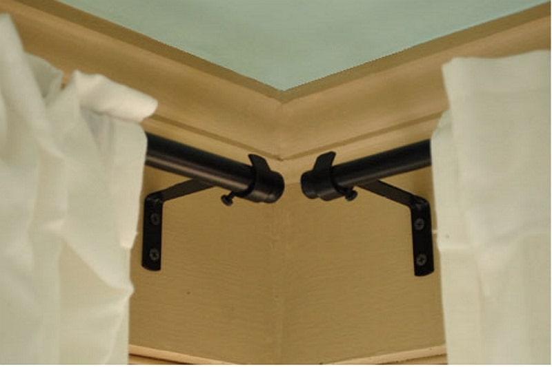 how to hang curtains on corner windows